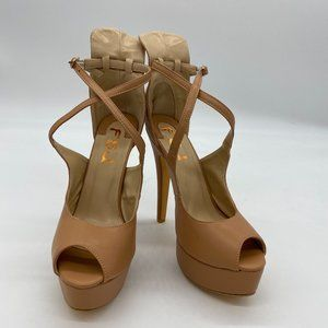 FSJ Gorgeou Peep Toe Platform Cross Strap Pump